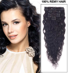 22 Inch #1 Jet Black Clip In Hair Extensions Loose Wavy 11 Pieces