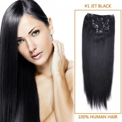 22 Inch #1 Jet Black Clip In Human Hair Extensions 8pcs