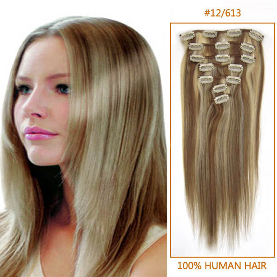 22 Inch 12613 Clip In Remy Human Hair Extensions 9pcs
