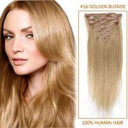22 Inch #16 Golden Blonde Clip In Human Hair Extensions 11pcs