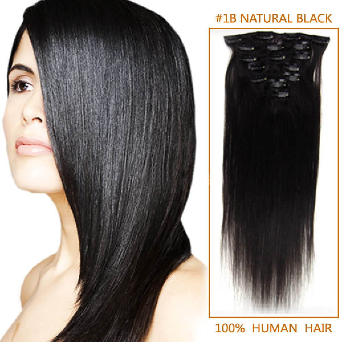 22 Inch 1b Natural Black Clip In Human Hair Extensions 11pcs