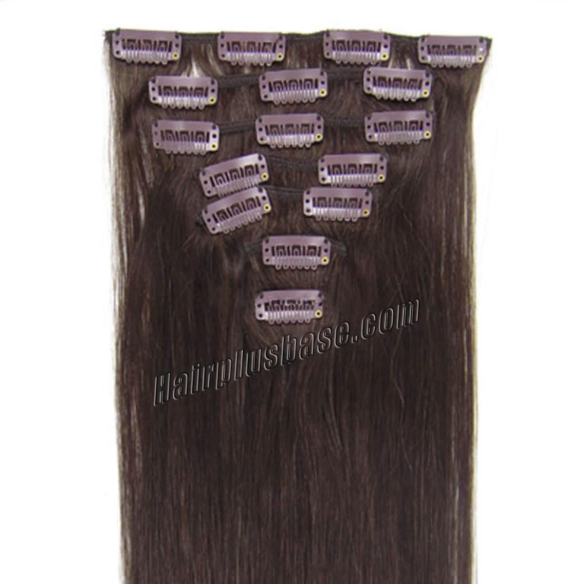 22 Inch #2 Dark Brown Clip In Human Hair Extensions 10pcs no 1
