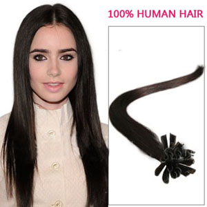 22 Inch 100s Faddish Straight Nail/U Tip Human Hair Extensions #2 Darkest Brown 50g