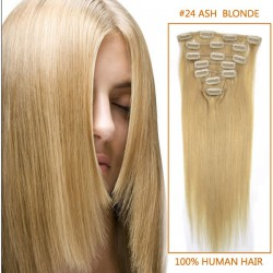 22 Inch #24 Ash Blonde Clip In Human Hair Extensions 11pcs