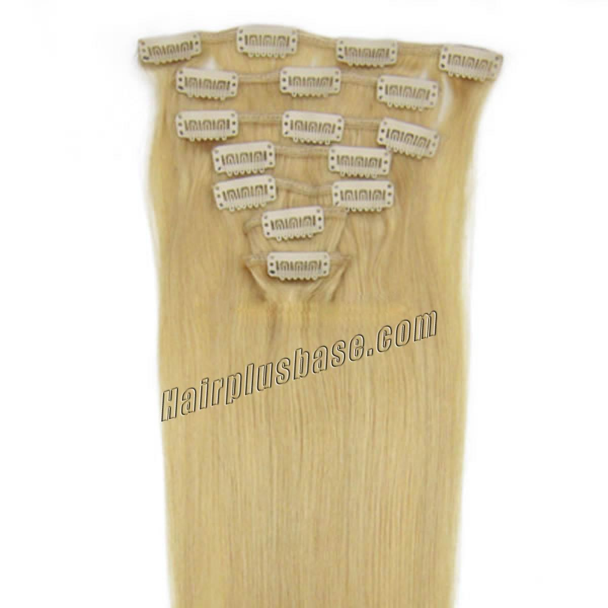 22 Inch #24 Ash Blonde Clip In Remy Human Hair Extensions 9pcs no 1