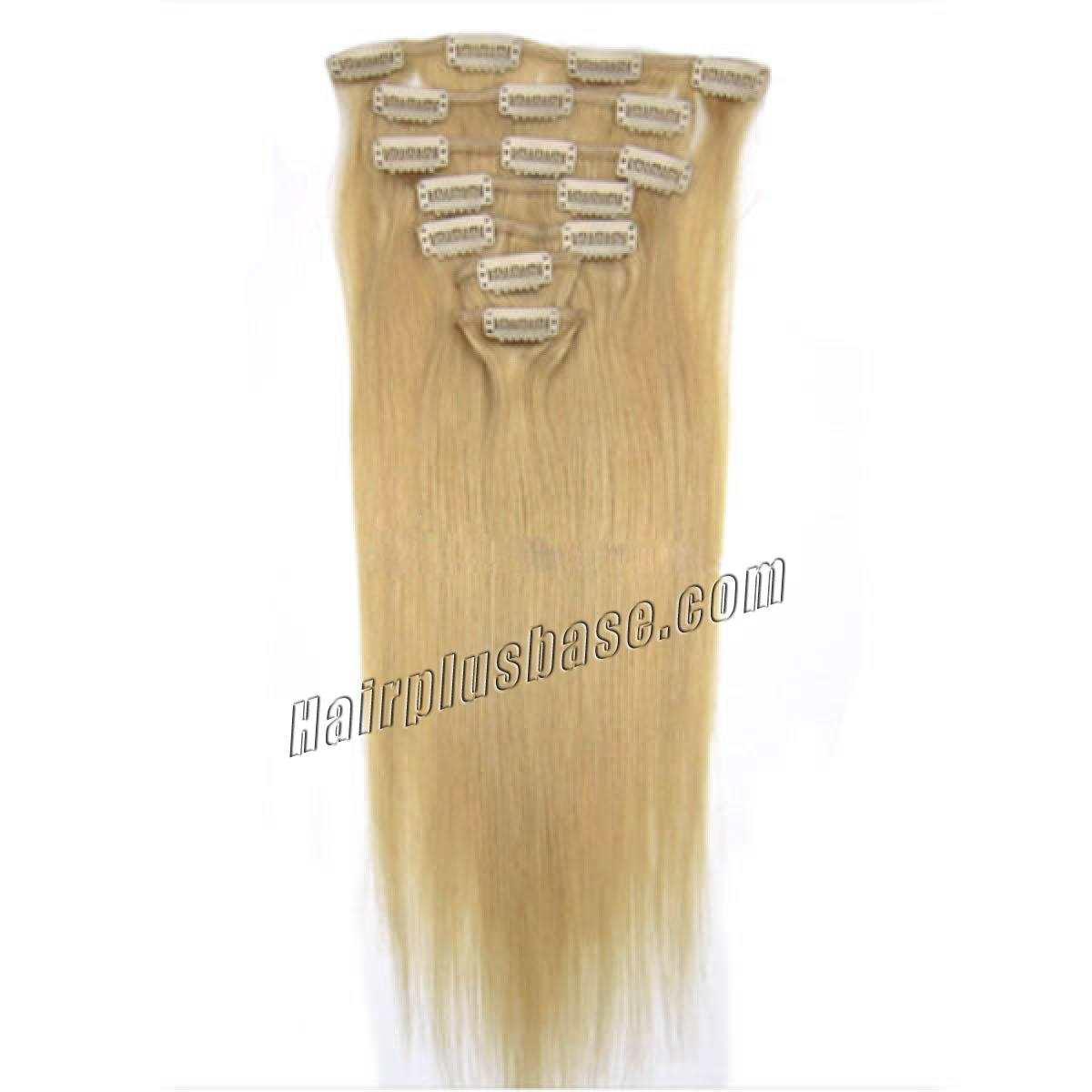 22 Inch #24 Ash Blonde Clip In Remy Human Hair Extensions 9pcs no 2
