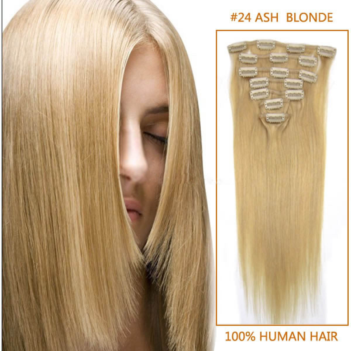 22 Inch #24 Ash Blonde Clip In Remy Human Hair Extensions 9pcs