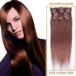 22 Inch #33 Dark Auburn Clip In Human Hair Extensions 11pcs