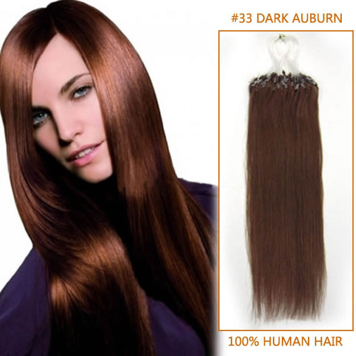 22 Inch 33 Dark Auburn Micro Loop Human Hair Extensions 100s