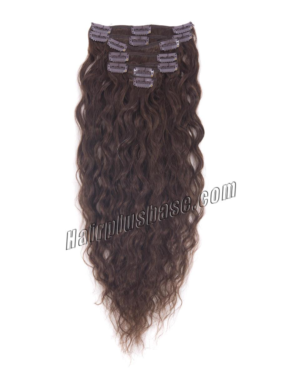 22 Inch #4 Medium Brown Clip In Hair Extensions Full French Wavy 9 Pcs no 2