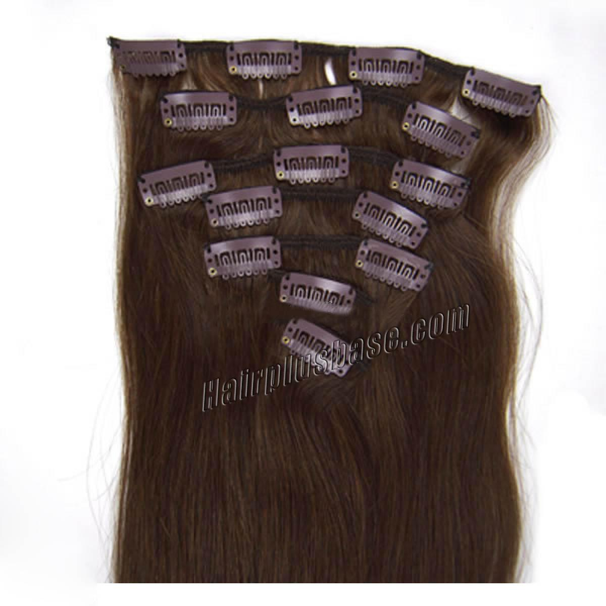 22 Inch 4 Medium Brown Clip In Human Hair Extensions 11pcs