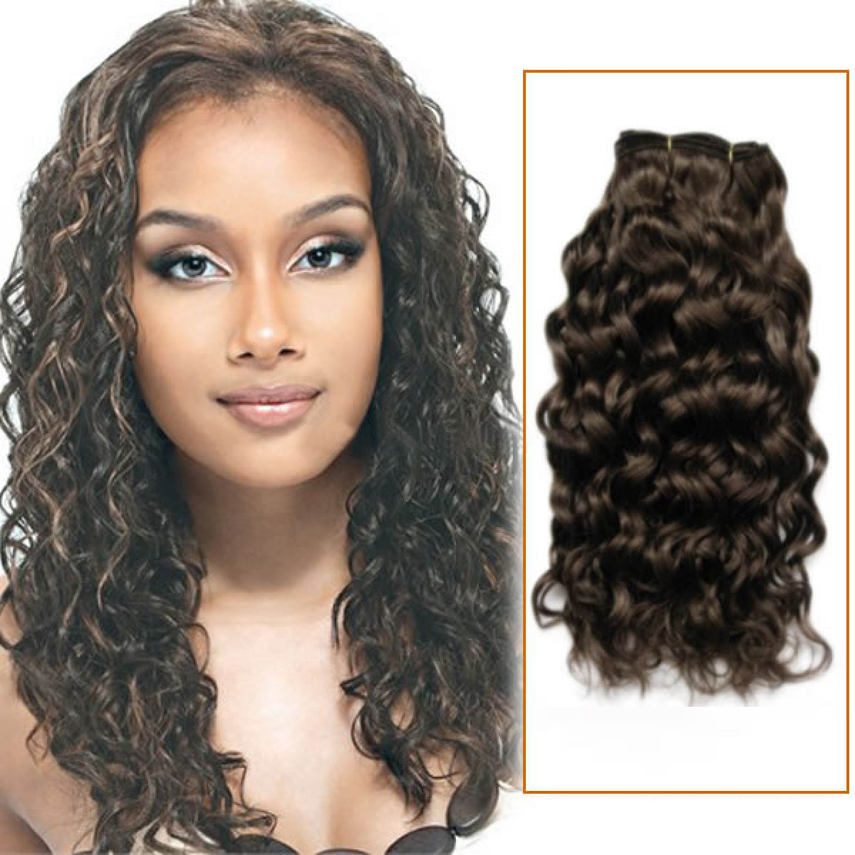 22 Inch 4 Medium Brown Curly Brazilian Virgin Hair Wefts