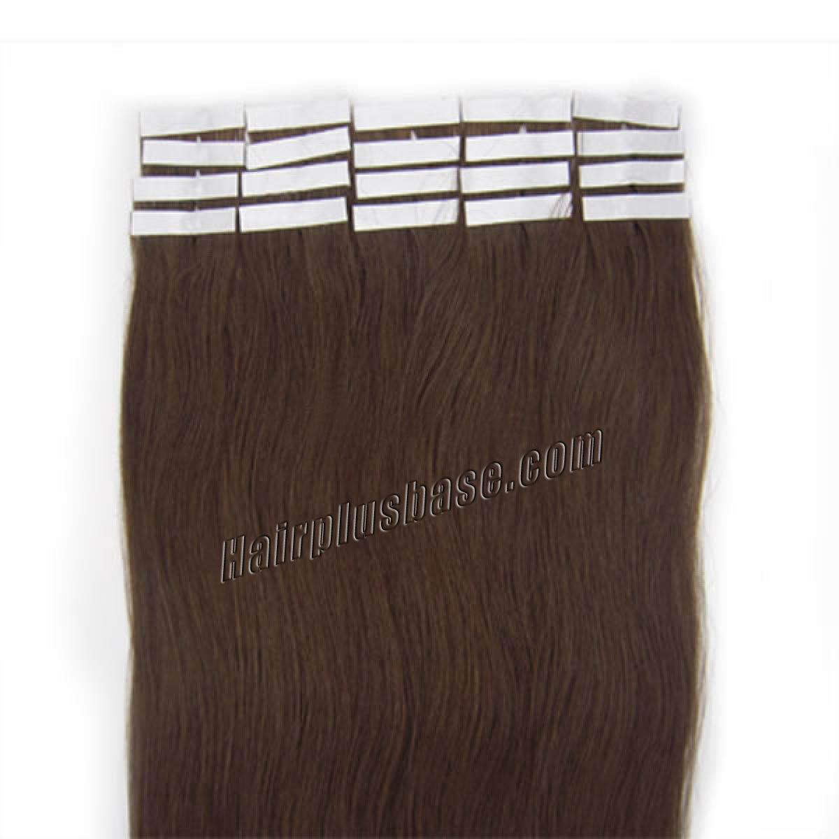 22 Inch #4 Medium Brown Tape In Human Hair Extensions 20pcs no 2