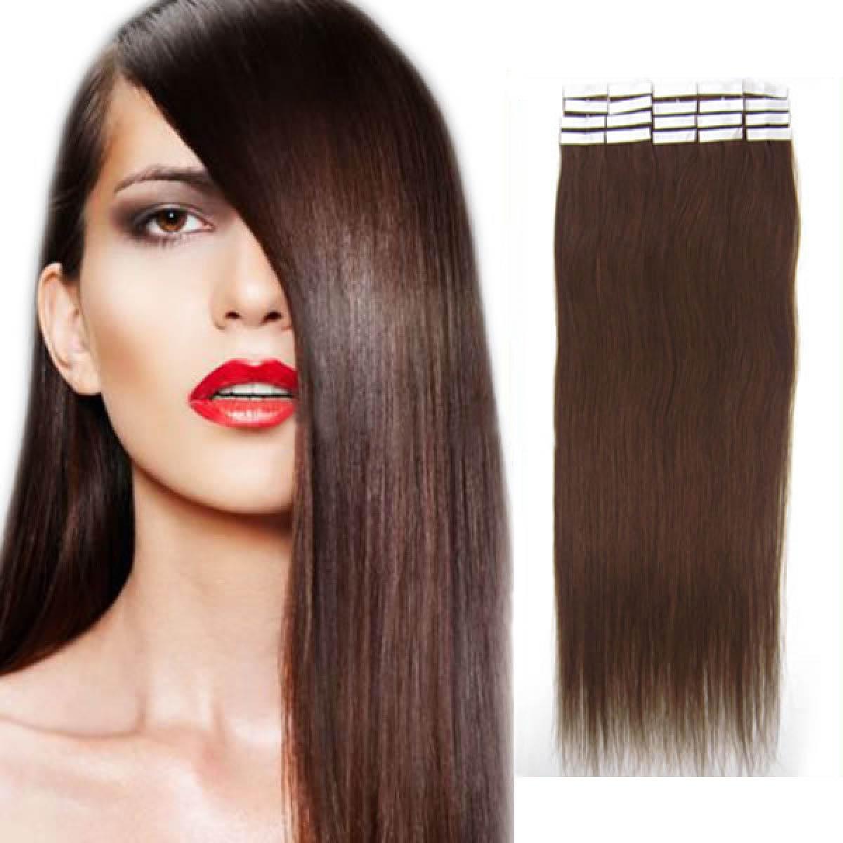 22 Inch #4 Medium Brown Tape In Human Hair Extensions 20pcs