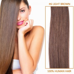 22 Inch #6 Light Brown Clip In Human Hair Extensions 11pcs