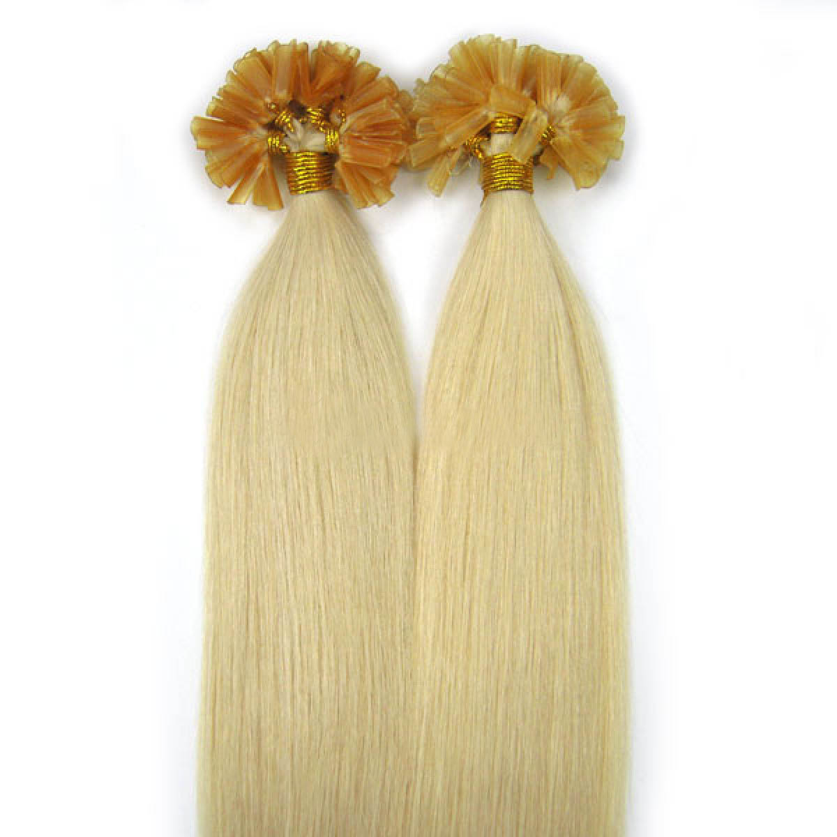 22 Inch #60 White Blonde Nail Tip Human Hair Extensions 100S no 2