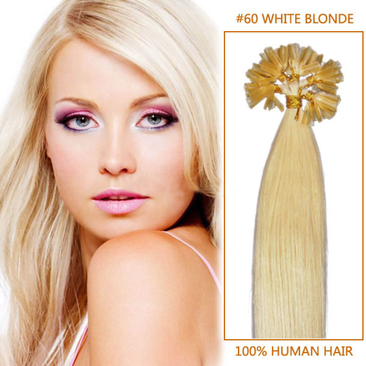 22 Inch 60 White Blonde Nail Tip Human Hair Extensions 100s