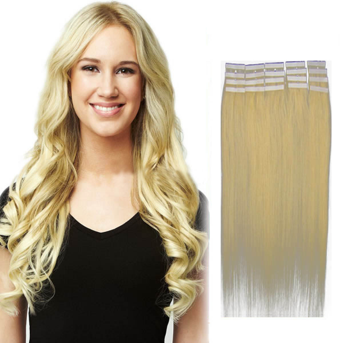 22 Inch 613 Bleach Blonde Tape In Human Hair Extensions 20pcs