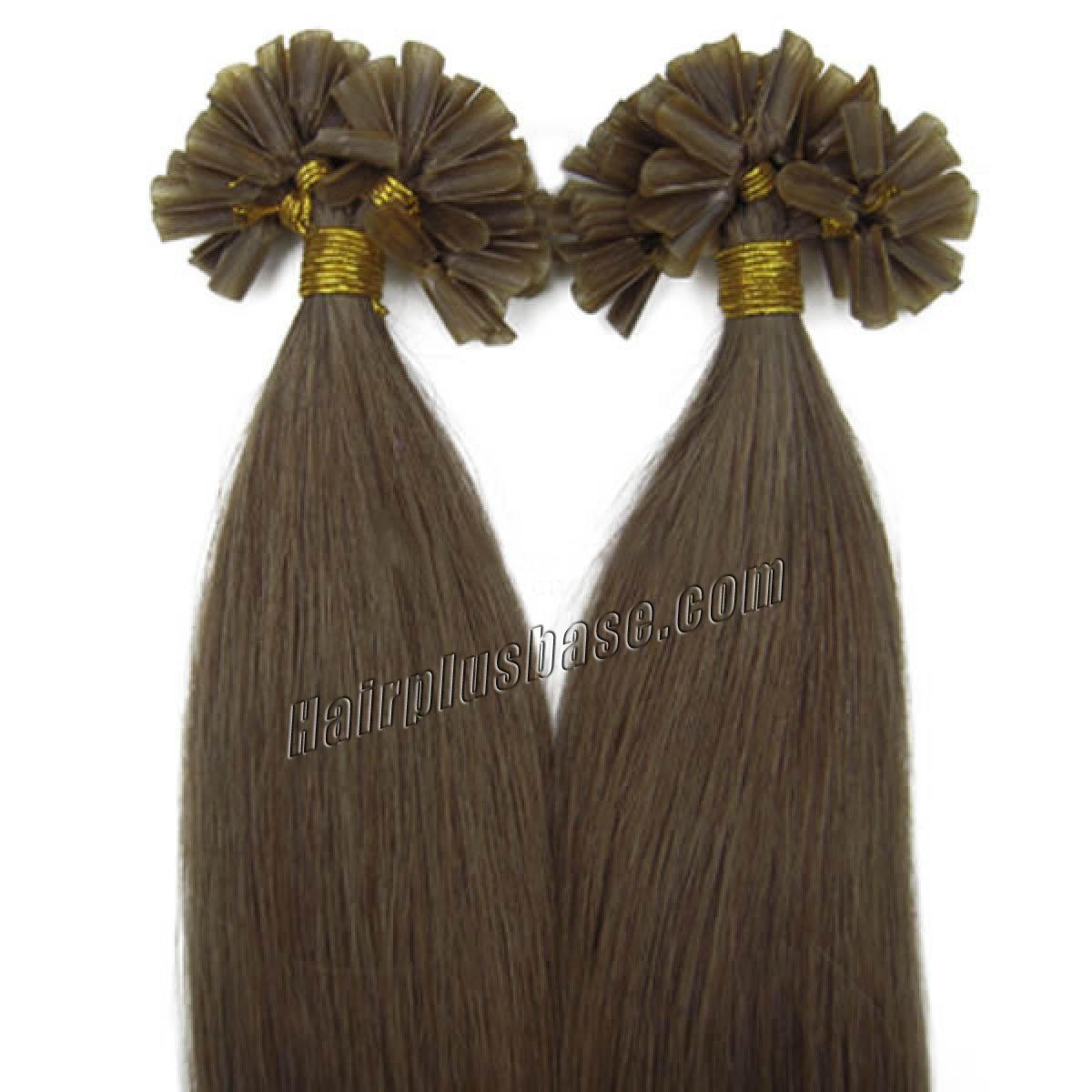 22 Inch 8 Ash Brown Nail Tip Human Hair Extensions 100s