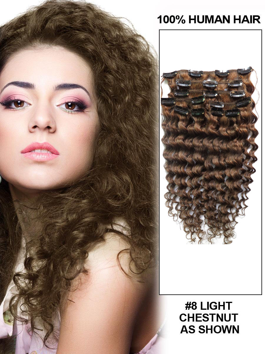 22 Inch 8 Ash Brown Unusual Clip In Hair Extensions Curly 7 Pieces