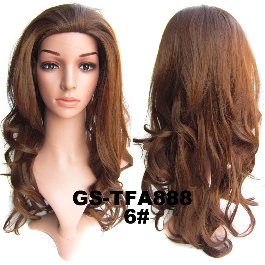 22 Inch Attractive Curly and Long 3/4 Half Head Synthetic Hair Wigs With Comb 6#
