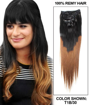 22 Inch Auburn and Natural Black Ombre Clip in Hair Extensions Two Tone Straight 9 Pieces