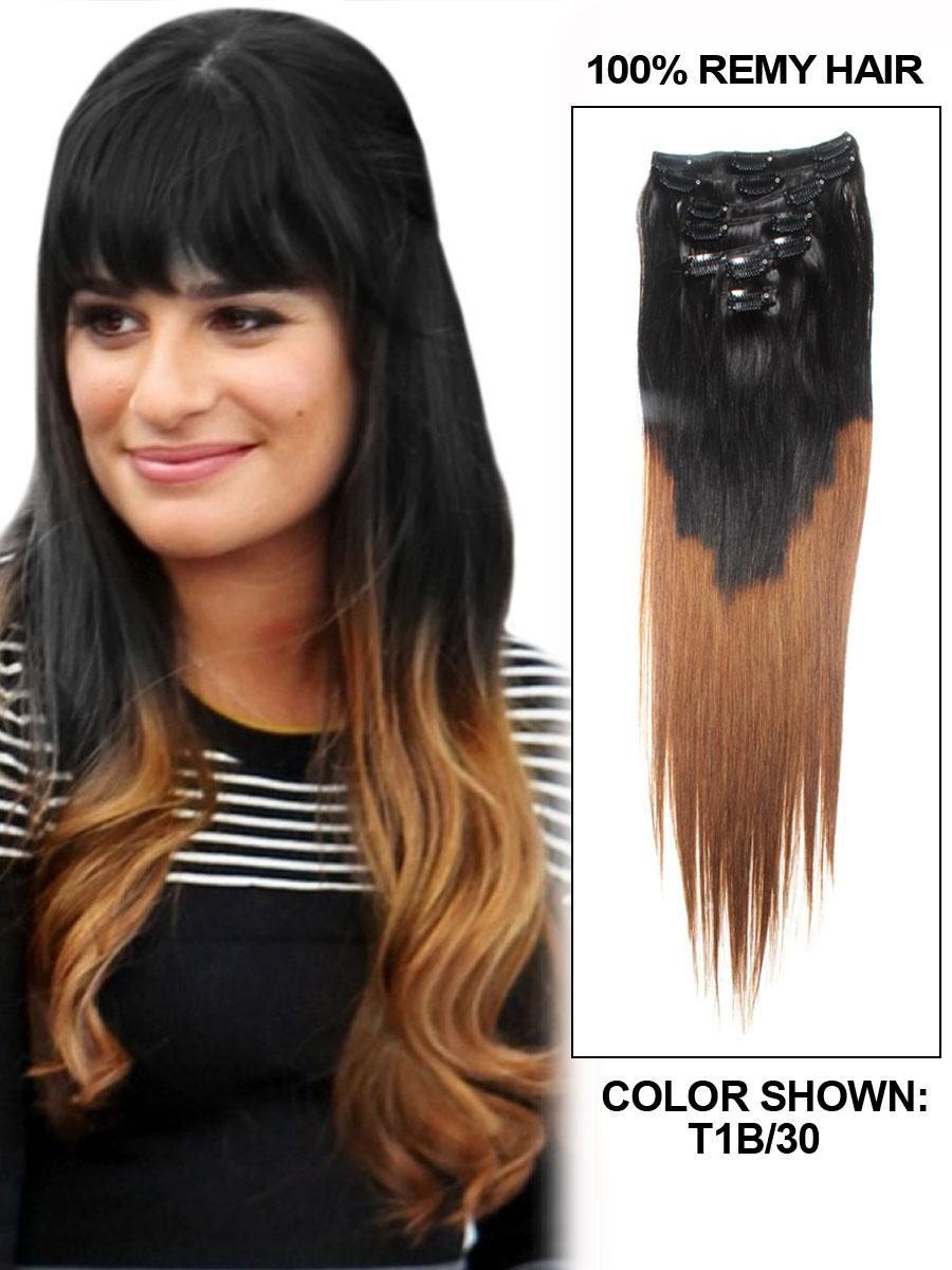 22 inch auburn and natural black ombre clip in hair