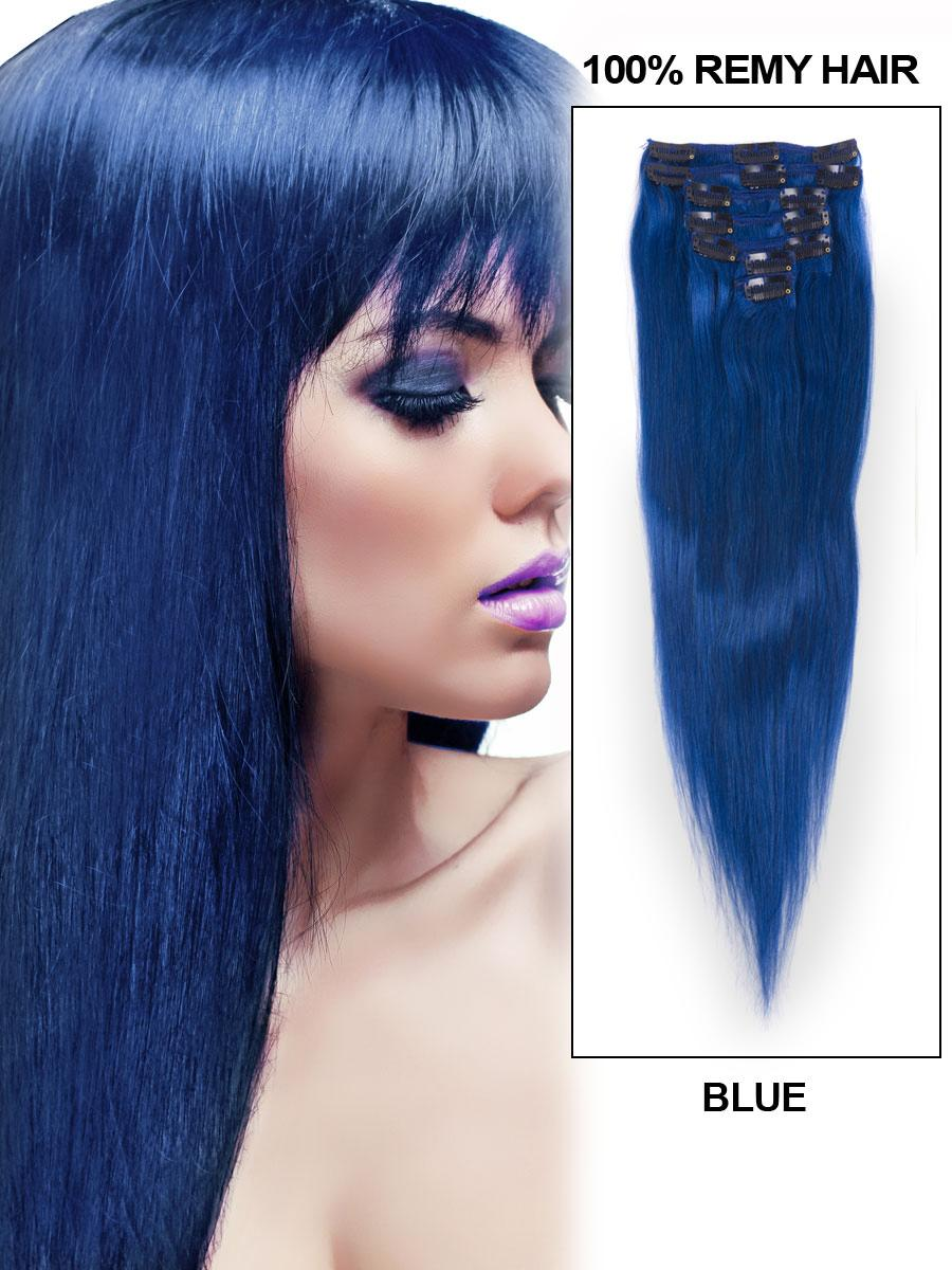 22 inch blue clip in remy human hair extensions 7pcs
