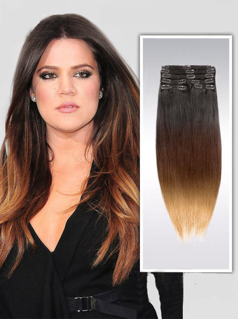 22 Inch Bright Ombre Clip In Indian Remy Hair Extensions Straight 9pcs