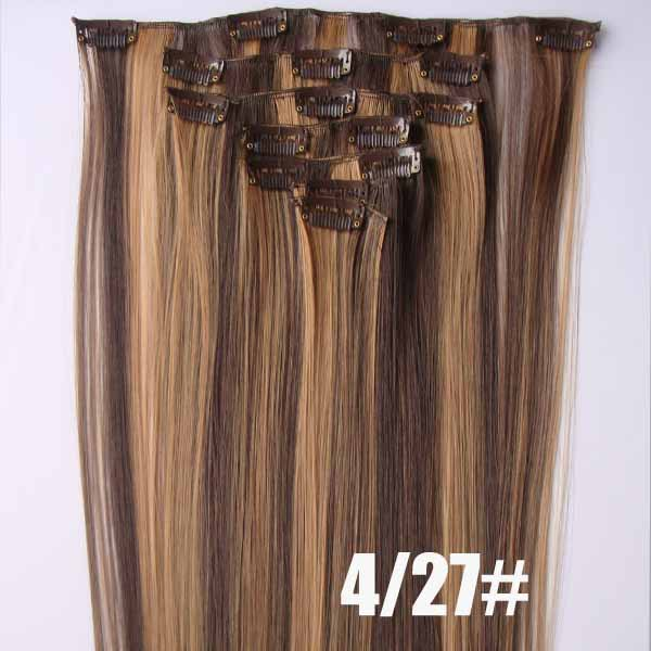 22 Inch Bright Straight And Long Full Head Clip In Synthetic Hair
