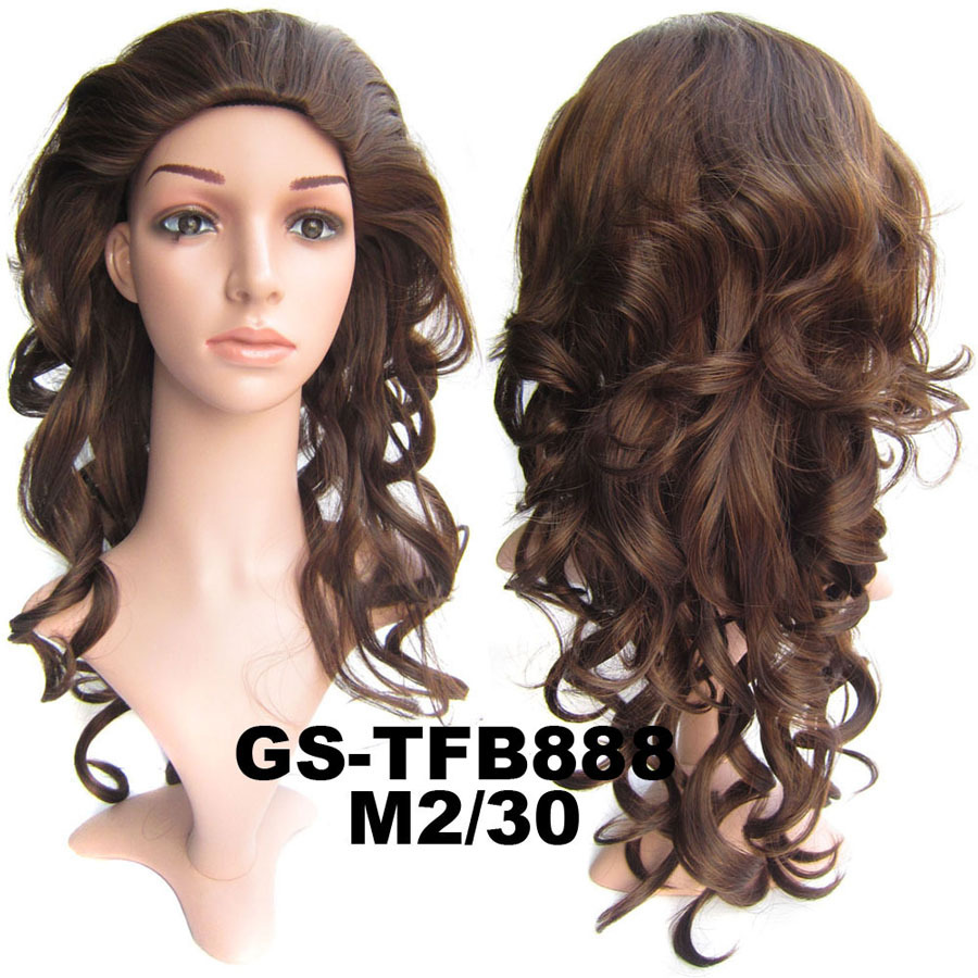 22 Inch Charming Curly And Long 34 Half Head Synthetic Hair Wigs