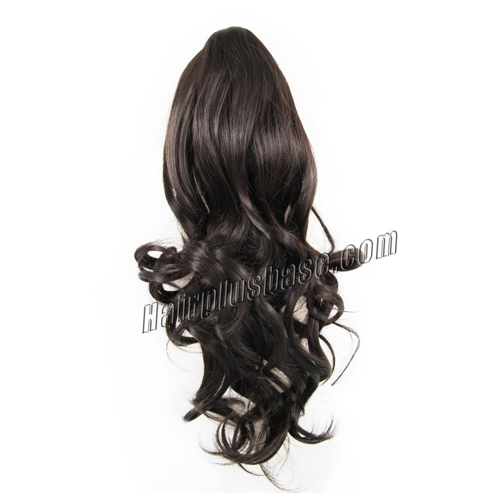 22 Inch Claw Clip Human Hair Ponytail Curly Glossy #2 Dark Brown no 1