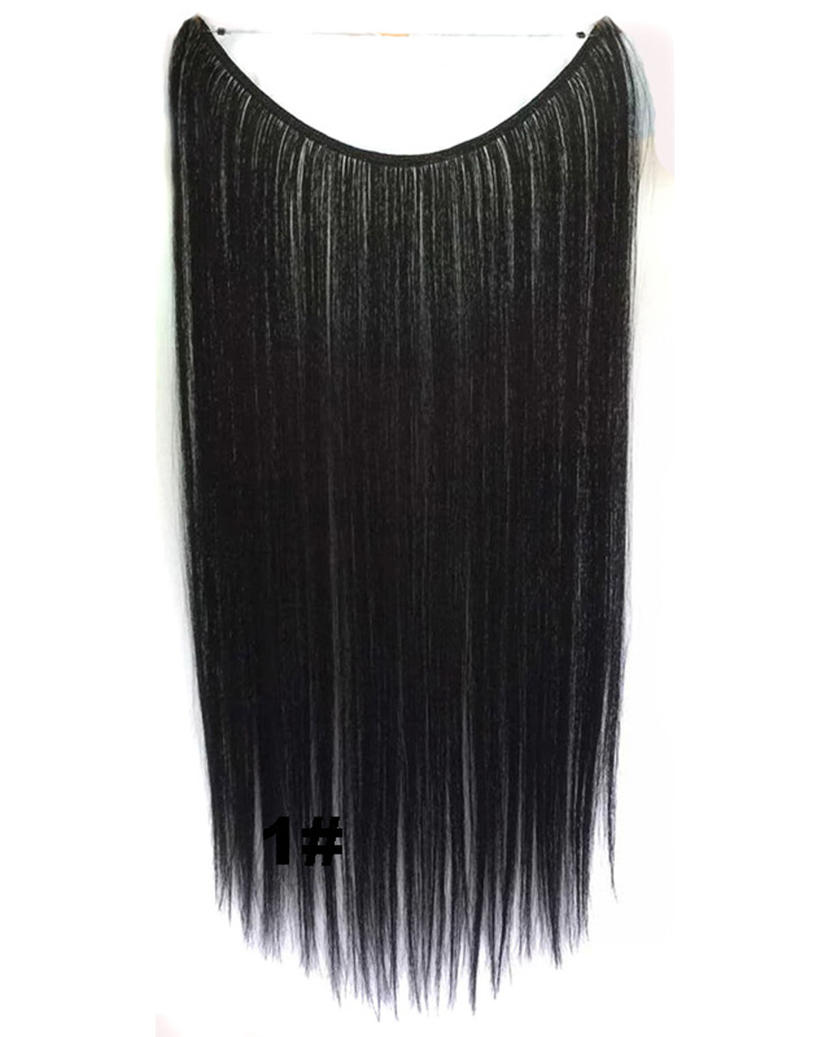 22 Inch Clean Straight and Long Invisible One Piece Miracle Wire Flip in Synthetic Hair Extension1#
