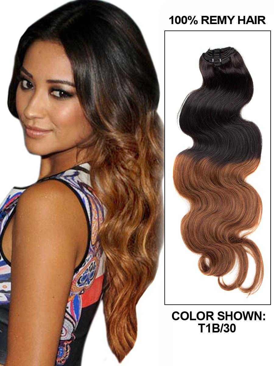 22 Inch Dreamy Ombre Clip In Hair Extensions Two Tone Body Wave 9 Pieces