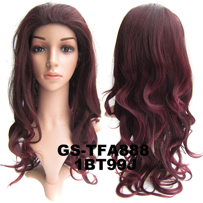 22 Inch Elaborate Curly and Long 3/4 Half Head Synthetic Hair Wigs With Comb 1BT99J