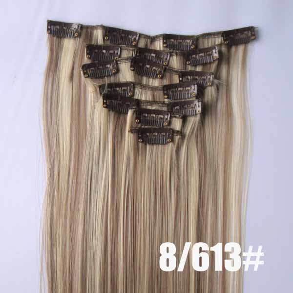 22 Inch Elaborate Straight and Long Full Head Clip in Synthetic Hair Extensions P8/613 7 Pieces