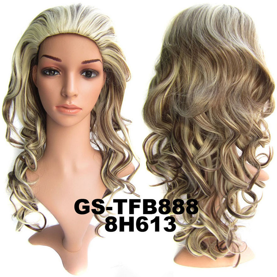 22 Inch Elegant Curly and Long 3/4 Half Head Synthetic Hair Wigs With Comb F8/613