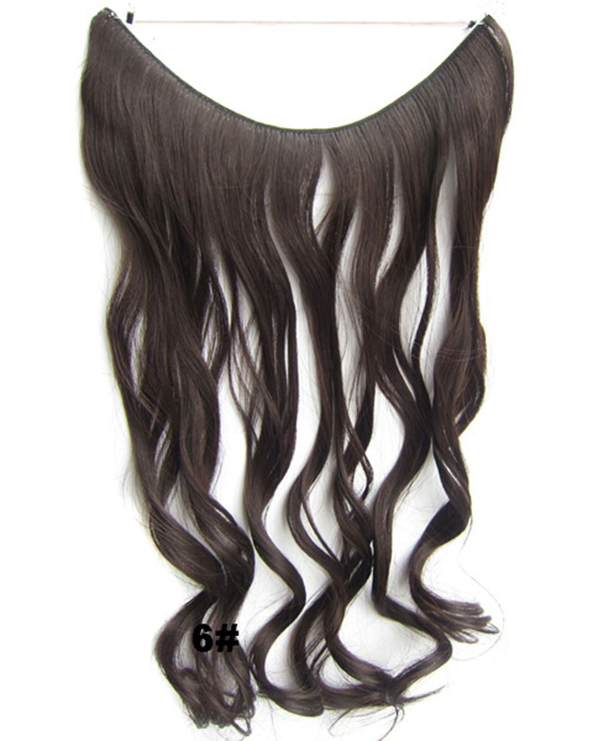 22 Inch Elegant Curly and Long One Piece Miracle Wire Flip in Synthetic Hair Extension 6#