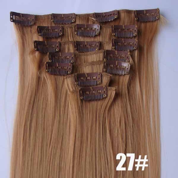 22 Inch Elegant Straight and Long Full Head Clip in Synthetic Hair Extensions  27# 7 Pieces