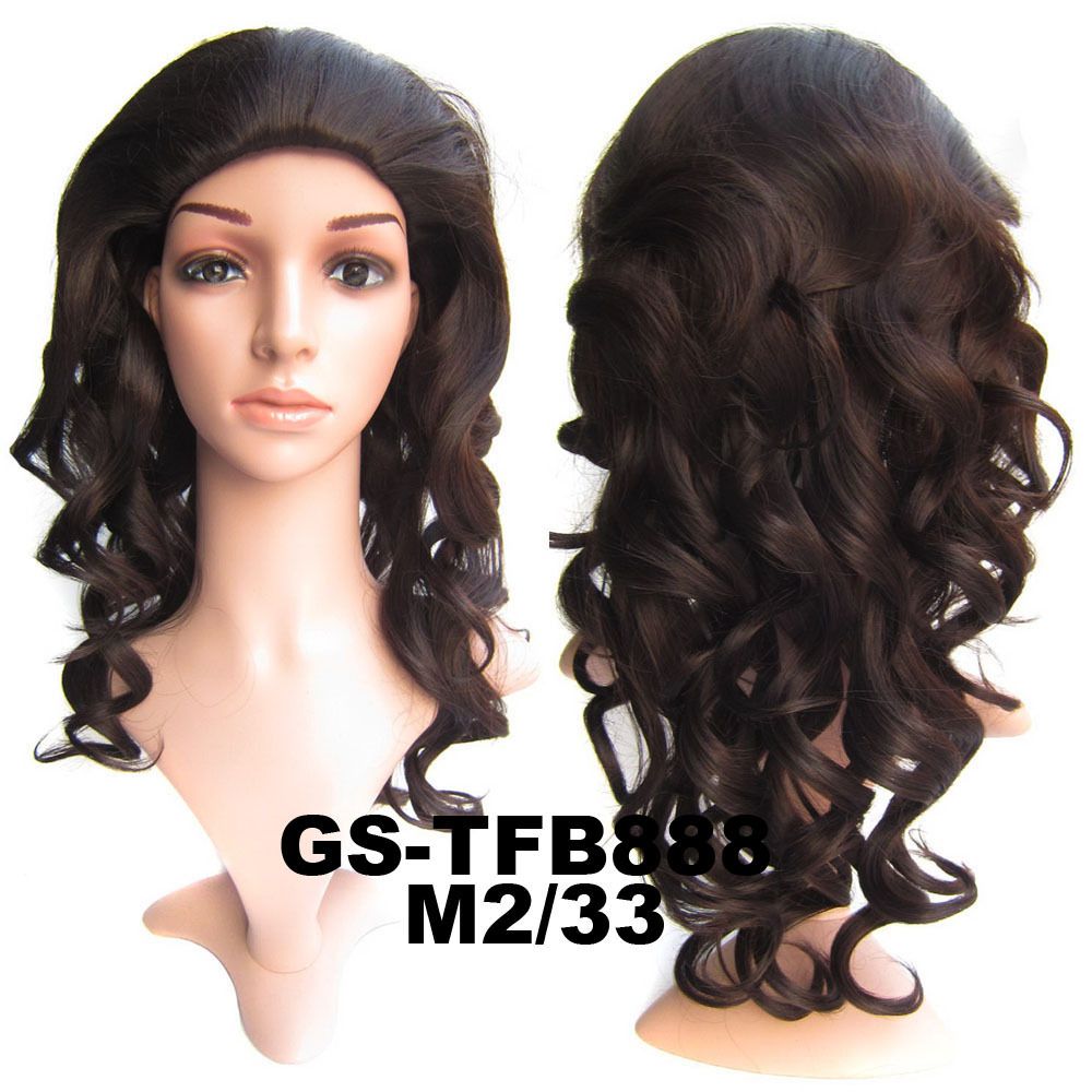 22 Inch Excellent Curly and Long 3/4 Half Head Synthetic Hair Wigs With Comb  M2/33