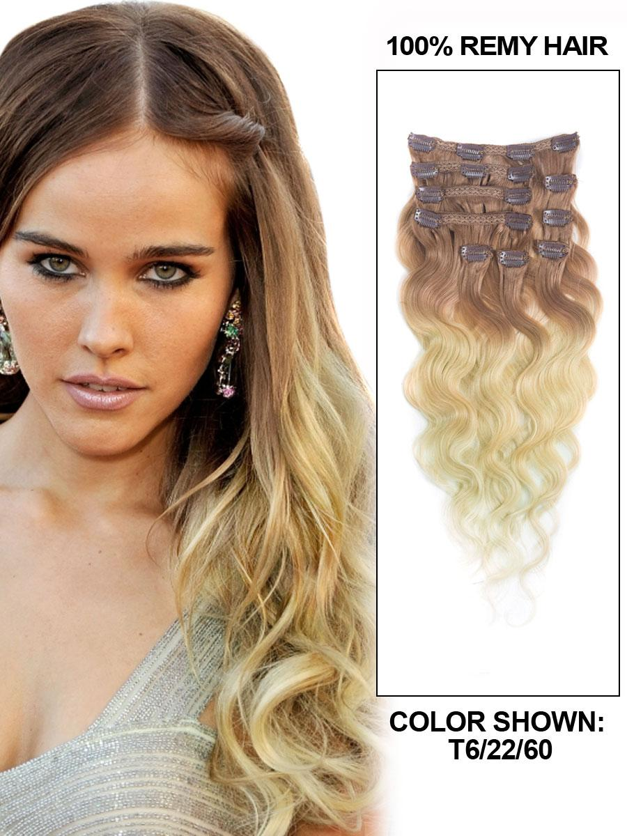 22 Inch Fancy Three Colors Ombre Clip In Indian Remy Hair Extensions