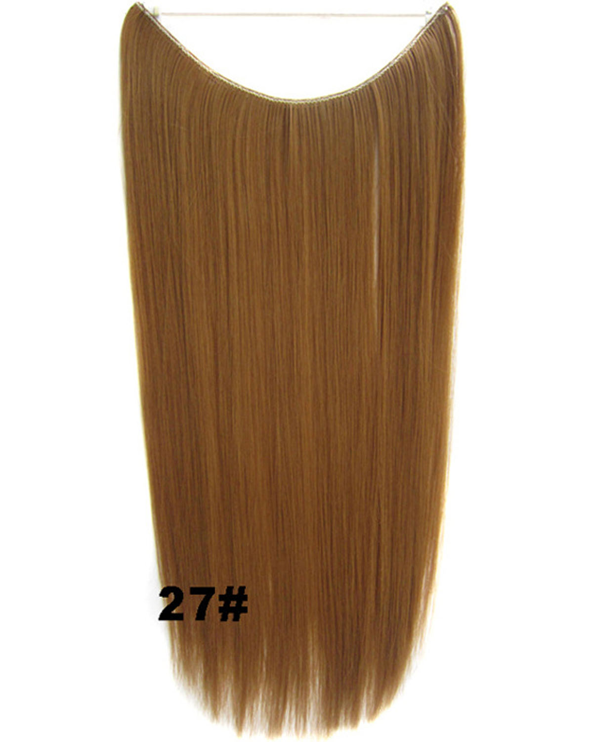 22 Inch Fashionable Straight and Long Invisible One Piece Miracle Wire Flip in Synthetic Hair Extension 27#