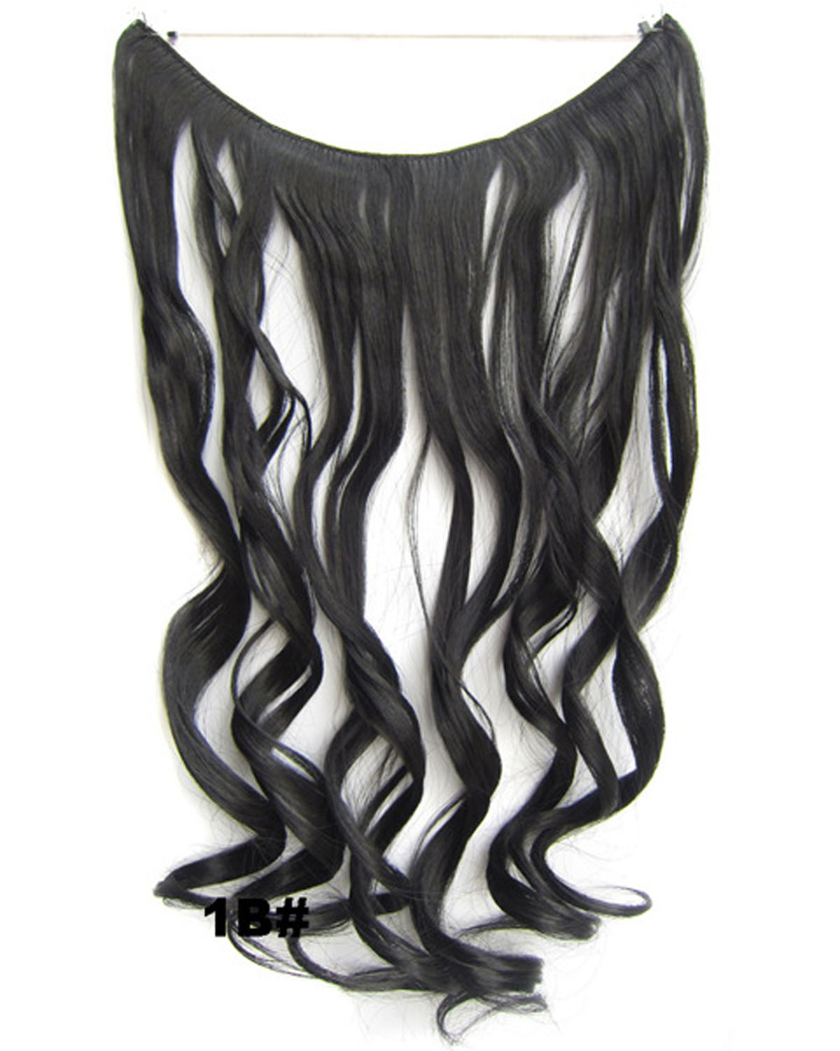 22 Inch Fine Curly and Long One Piece Miracle Wire Flip in Synthetic Hair Extension1B#