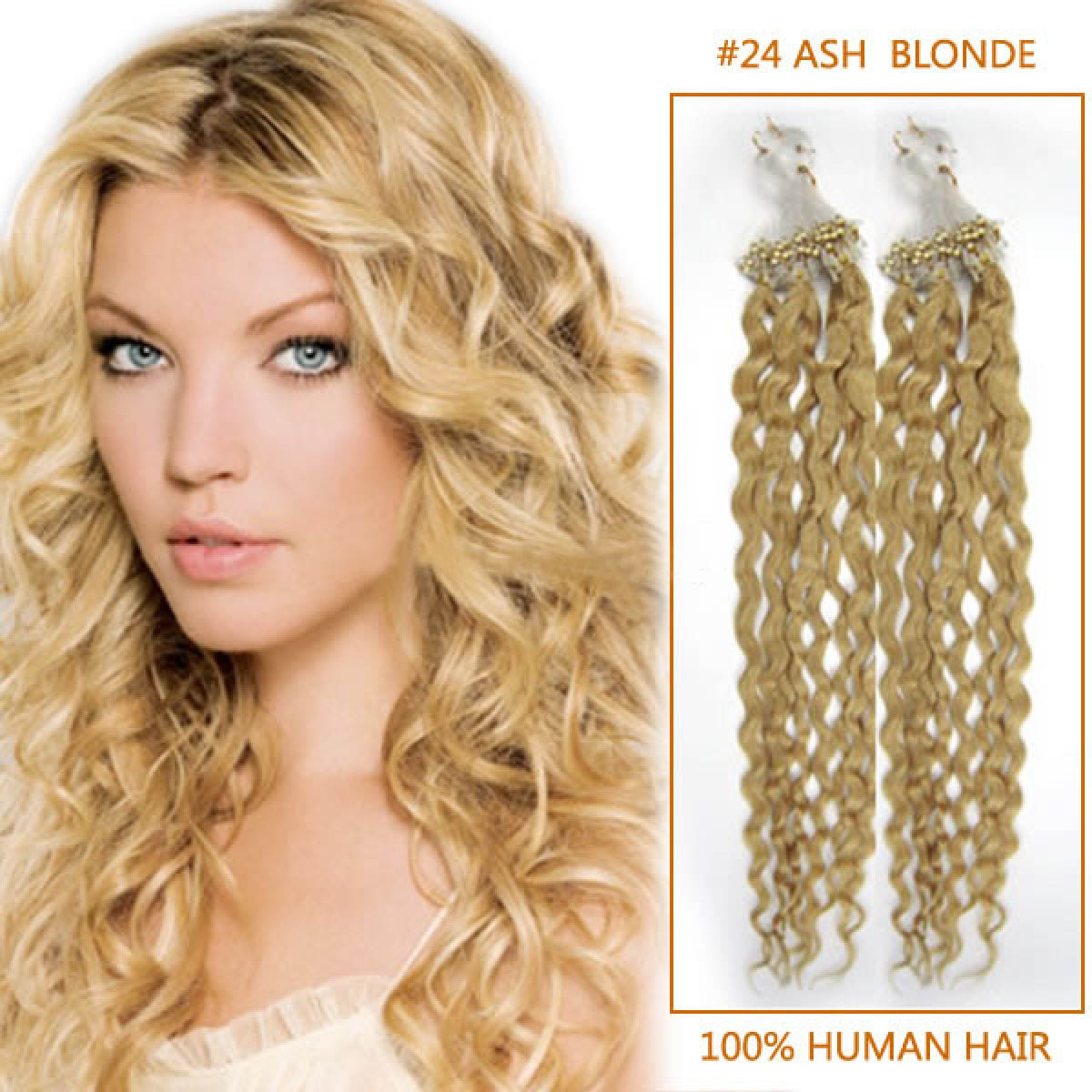22 Inch Glaring #24 Ash Blonde Curly Micro Loop Hair Extensions 100 Strands