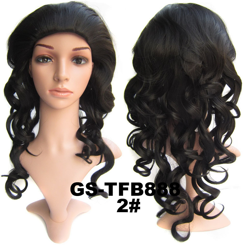 22 Inch Grand Curly and Long 3/4 Half Head Synthetic Hair Wigs With Comb 2#