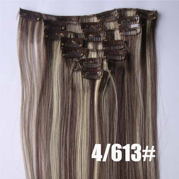 22 Inch Grand Straight and Long Full Head Clip in Synthetic Hair Extensions P4/613 7 Pieces
