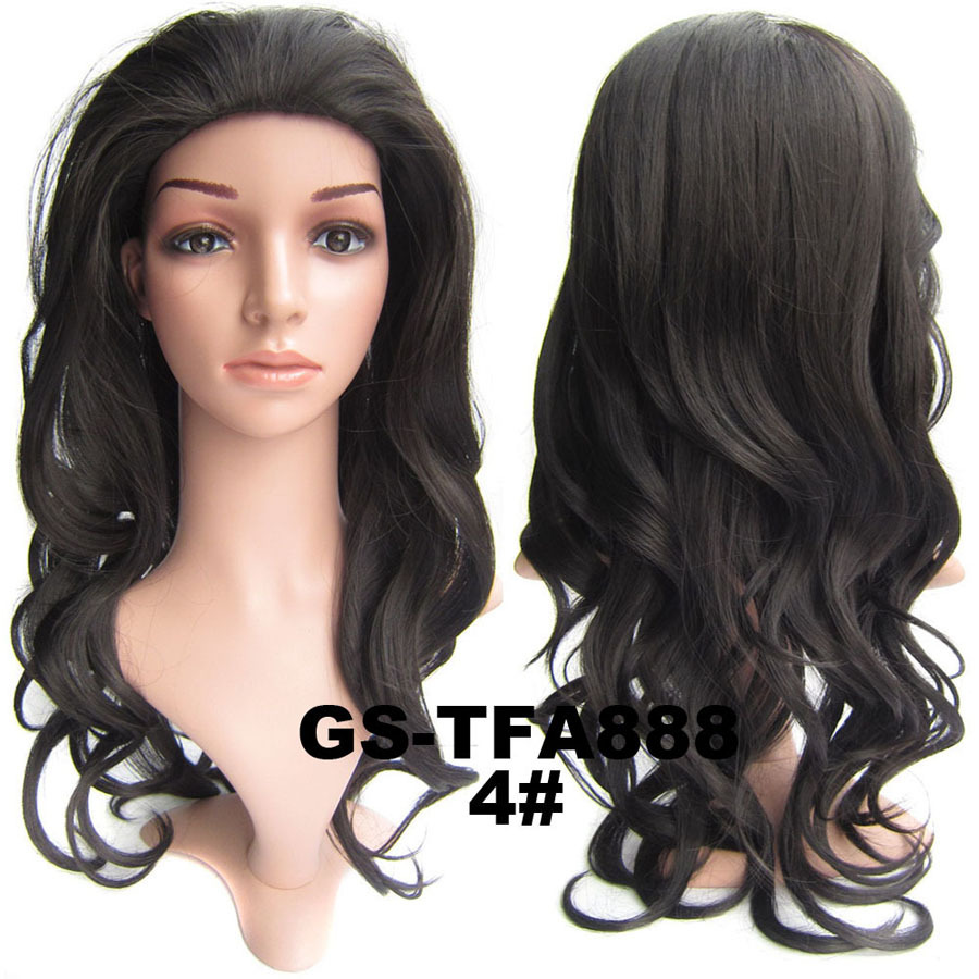 22 Inch High Quality Curly and Long 3/4 Half Head Synthetic Hair Wigs With Comb  4#