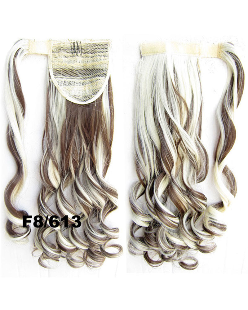22 Inch Lady Captivating  Curly and Long Wrap Around Synthetic Hair Ponytail F8/613