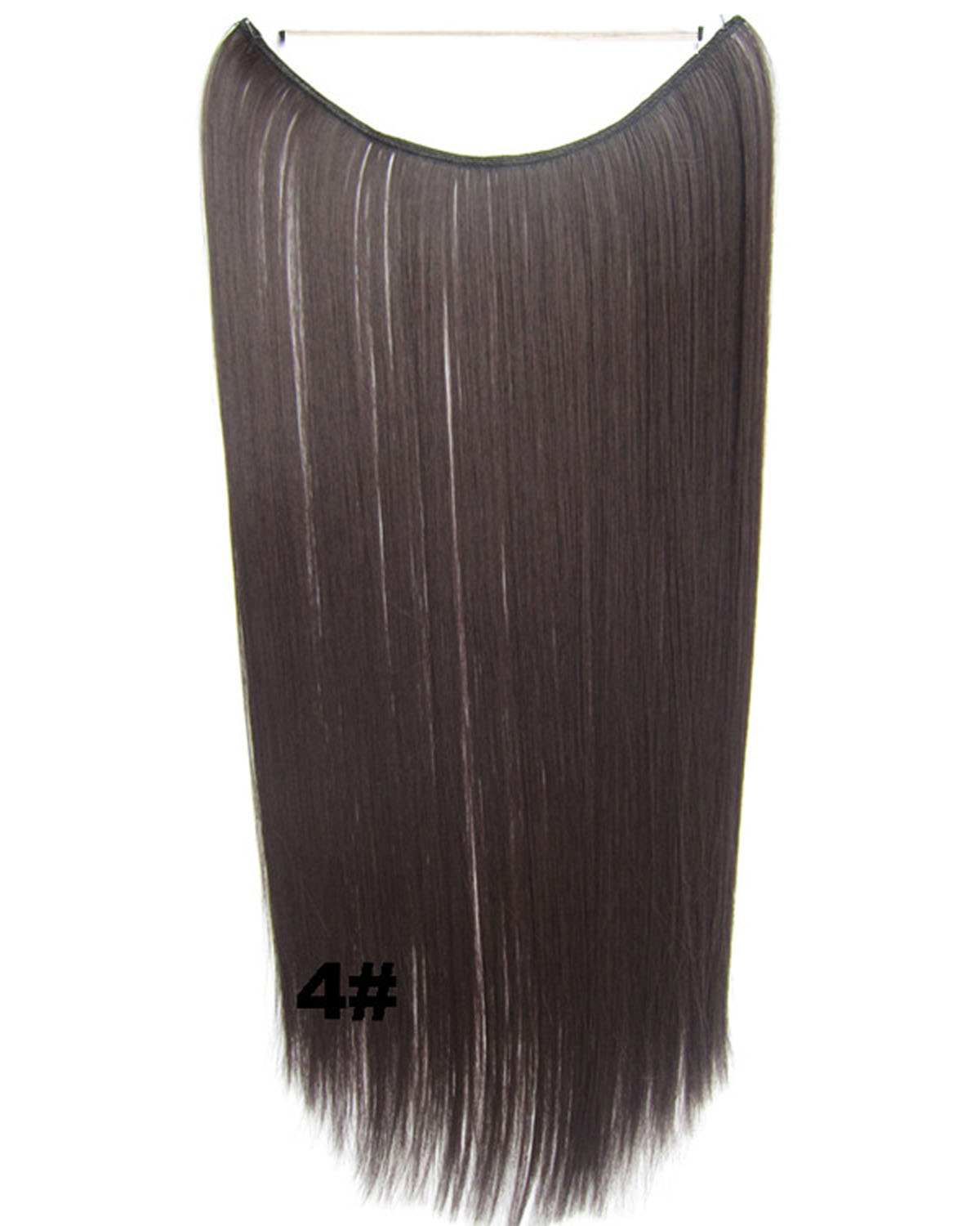 22 Inch Lady Clean Straight long One Piece Miracle Wire Flip in Synthetic Hair Extension 4#