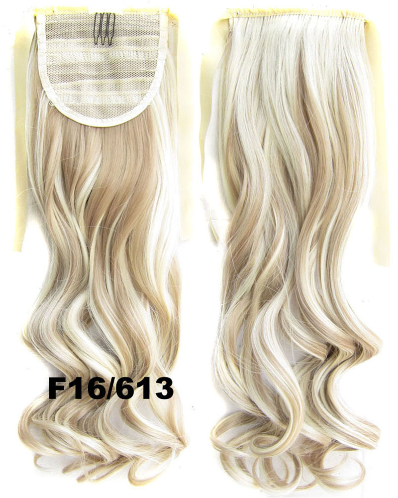 22 Inch Lady Curly and Long Lace/Ribbon Synthetic Hair Ponytail F16/613 Smooth and Bright